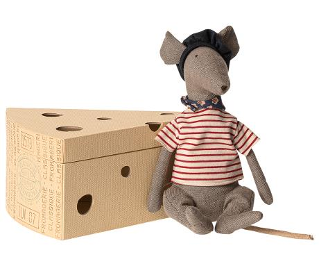Rat in Cheese Box in Grey by Maileg