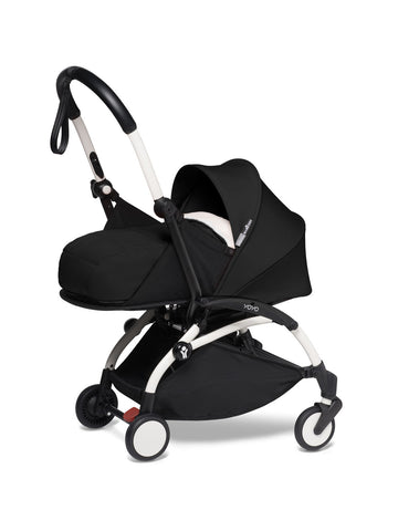 BABYZEN YOYO² Complete Stroller with Newborn Color Pack Fabric Set in Black with White Frame