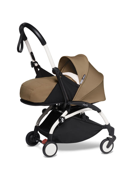 BABYZEN YOYO² Complete Stroller with Newborn Color Pack Fabric Set in Toffee with White Frame