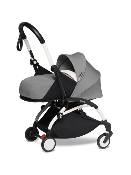BABYZEN YOYO² Complete Stroller with Newborn Color Pack Fabric Set in Grey with White Frame