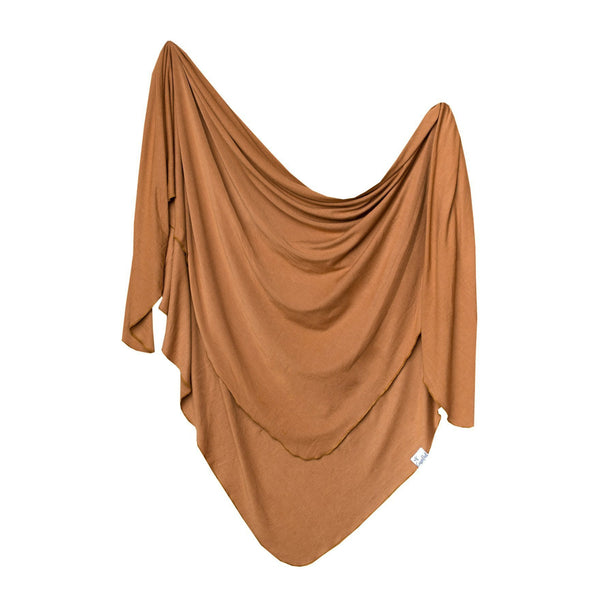 Knit Swaddle Blanket in Camel by Copper Pearl