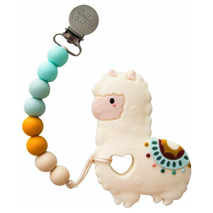 Silicone Baby Teether Holder Set in Llama by Loulou Lollipop