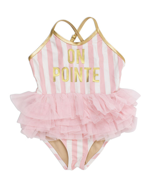 One Piece in Pink Stripe On Pointe by Shade Critters
