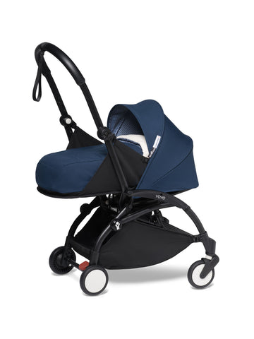 BABYZEN YOYO²Complete Stroller with Newborn Color Pack Fabric Set in Air France with Black Frame