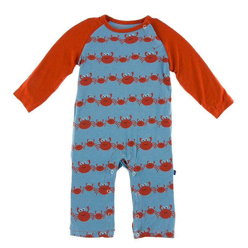 Print Long Sleeve Raglan Romper in Blue Moon Crab Family by Kickee Pants