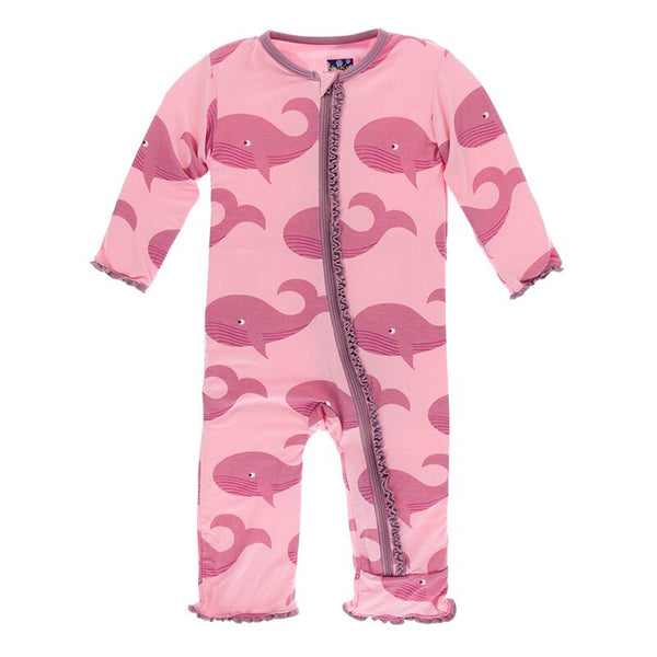 Print Muffin Ruffle Coverall with Zipper in Lotus Whales by Kickee Pants