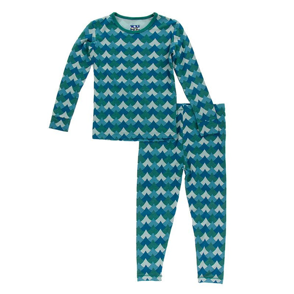 Print Long Sleeve Pajama Set in Ivy Waves by Kickee Pants