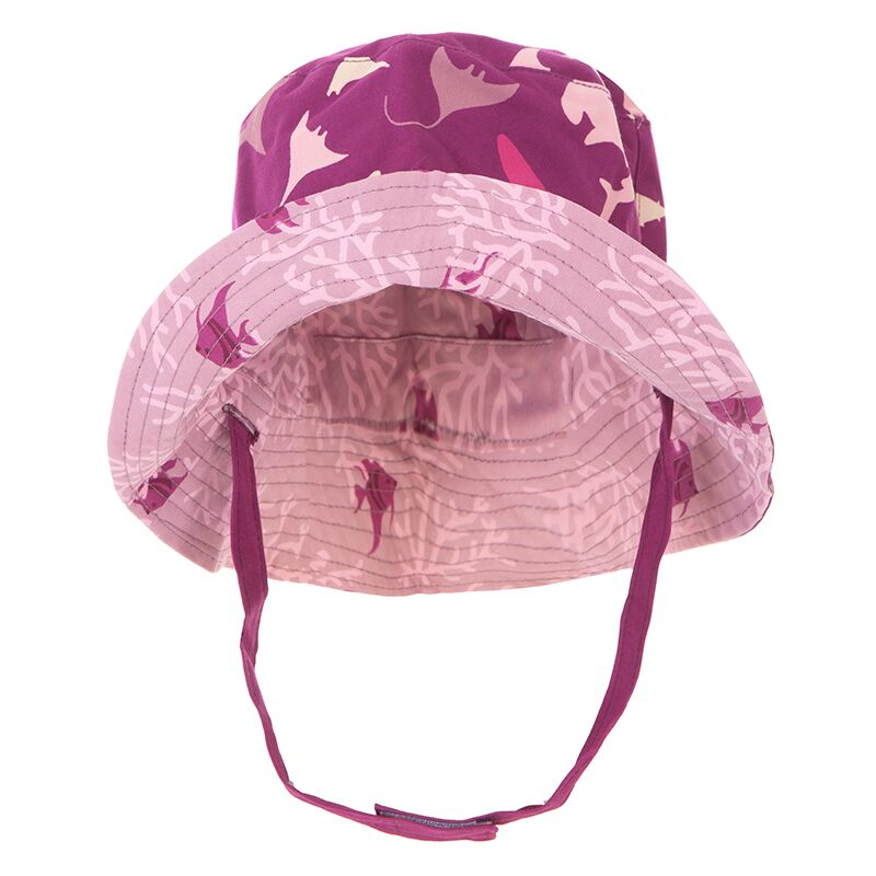 Print Reversible Bucket Hat in Melody Sharks and Pegasus Coral Fans by Kickee Pants