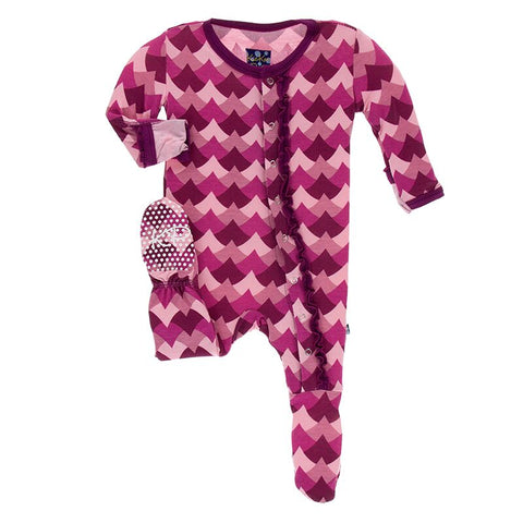 Print Muffin Ruffle Footie with Zipper in Melody Waves by Kickee Pants