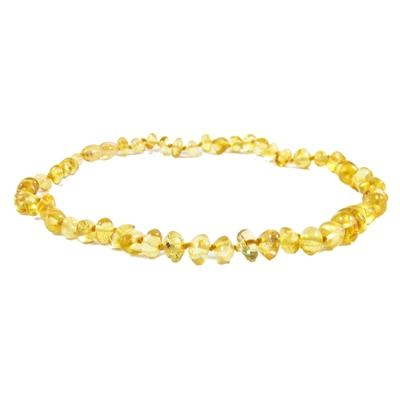 Polished Baroque Baltic Amber Necklace in Lemon