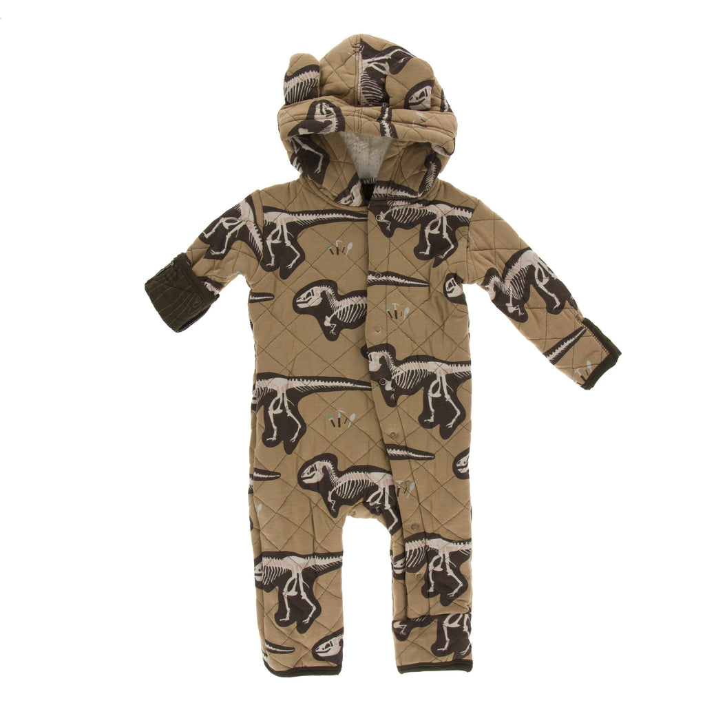 Print Quilted Hoodie Coverall with Sherpa-Lined Hood in Tannin T-Rex Dig with Petrified Wood by Kickee Pants