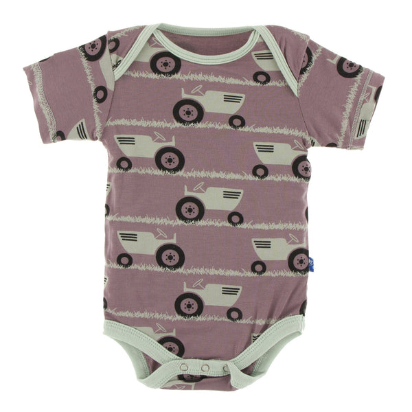 Print Short Sleeve One Piece in Raisin Tractor and Grass by Kickee Pants