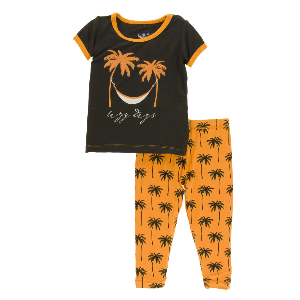 Print Short Sleeve Pajama Set in Apricot Palm Trees by Kickee Pants