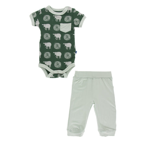 Print Short Sleeve Pocket One Piece and Pant Outfit Set in Topiary Tuscan Sheep by Kickee Pants