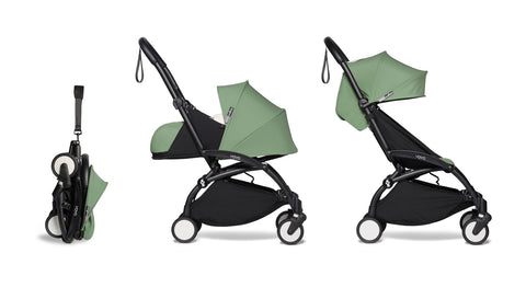 BABYZEN YOYO² Complete Stroller with Newborn & Toddler Color Pack Fabric Set in Mint with Black Frame
