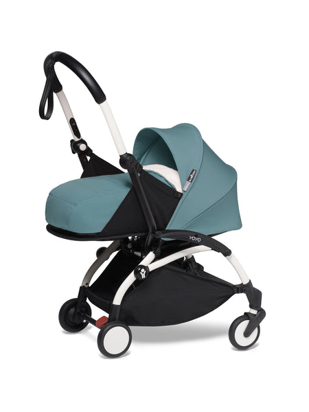 BABYZEN YOYO² Complete Stroller with Newborn Color Pack Fabric Set in Aqua with White Frame