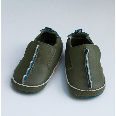 Slip on Shoes in  Moss Dinosaur Scales by Kickee Pants