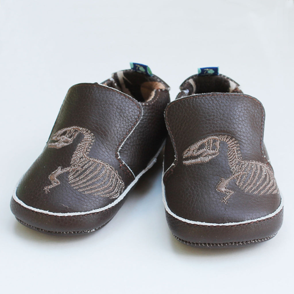 Slip on Shoes in T Rex Dig Embroidery by Kickee Pants