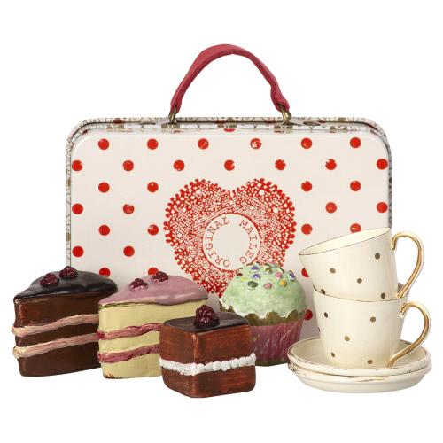 Suitcase with Cakes and Tableware For Two