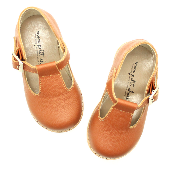The Hard Soled T-Strap in Cognac