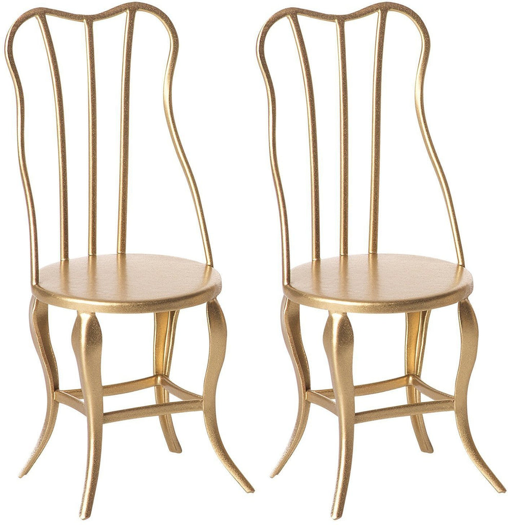 Two Gold Vintage Micro Chairs by Maileg