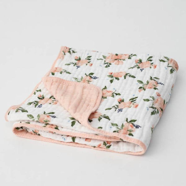 Cotton Muslin Baby Quilt in Watercolor Roses by Little Unicorn