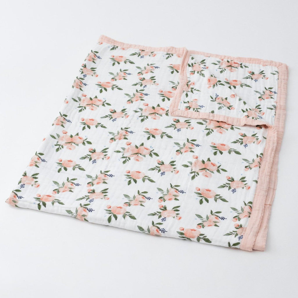 Cotton Muslin Big Kid Quilt in Watercolor Roses by Little Unicorn