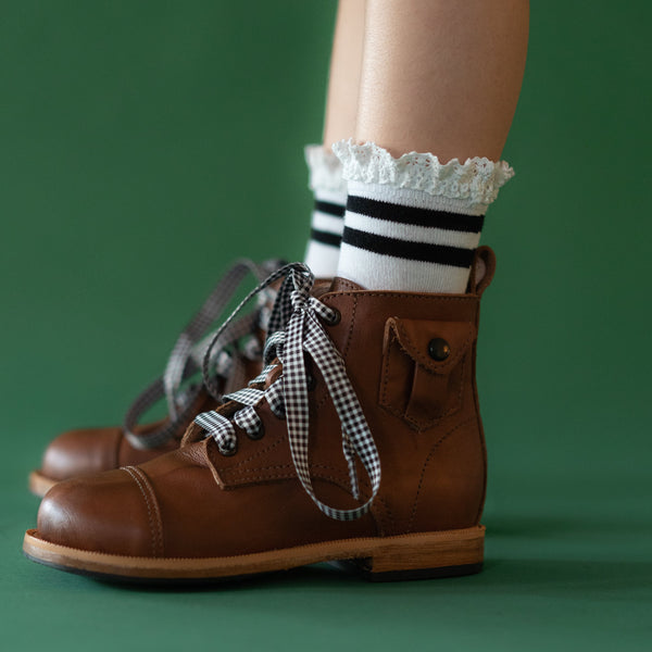 Little Stocking Co. Black Stripe Lace Midi Socks