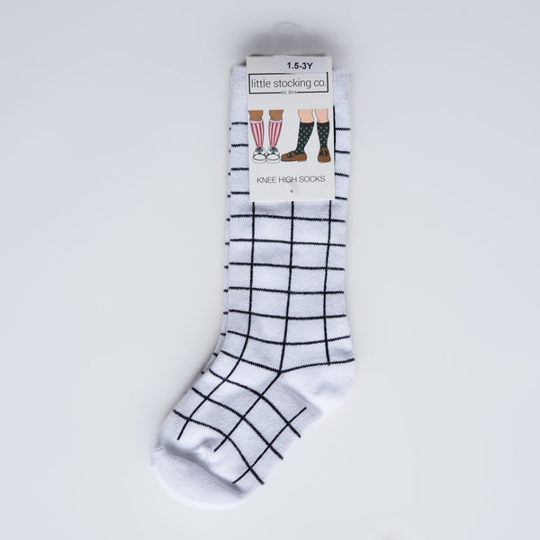 White and Black Grid Knee High Socks
