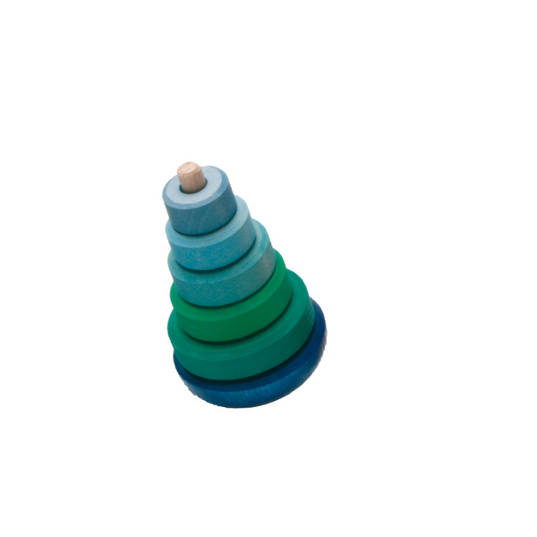 Wobbly Stacking Tower in Blue-Green by Grimms
