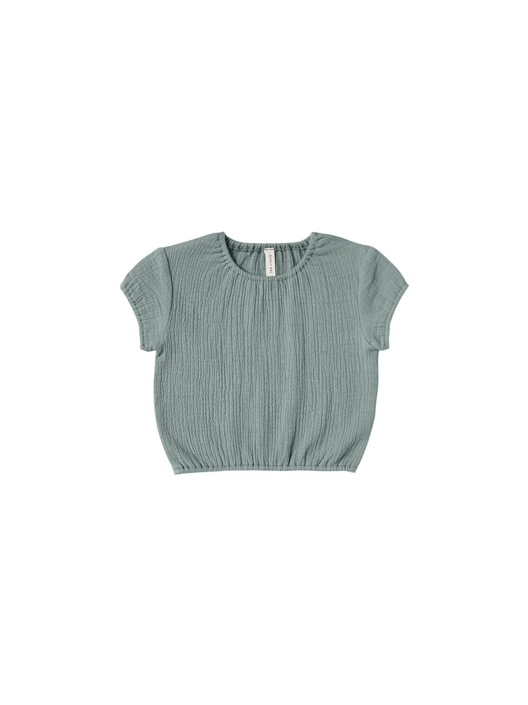 Cinched Woven Tee in Ocean by Quincy Mae