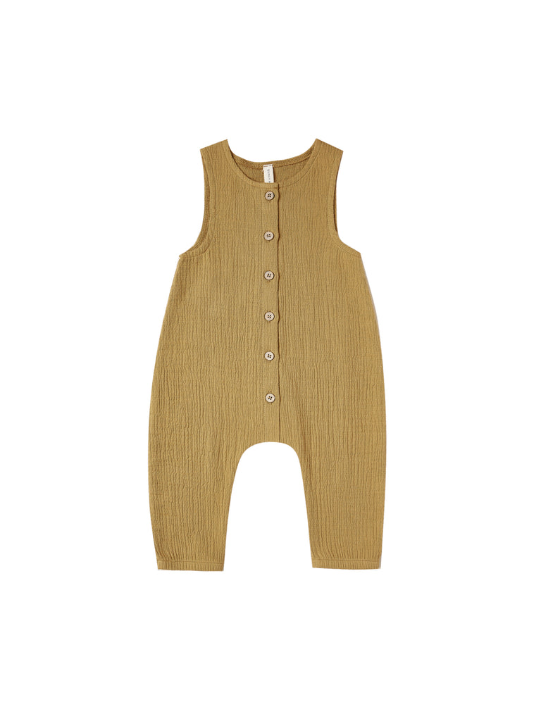 Woven Snap Jumpsuit in Ocre by Quincy Mae