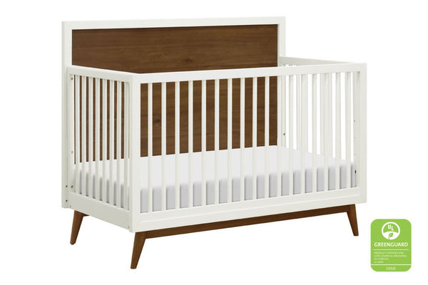 Palma Mid-Century 4 in 1 Convertible Crib with Toddler Bed Conversion Kit in Warm White and Natural Walnut