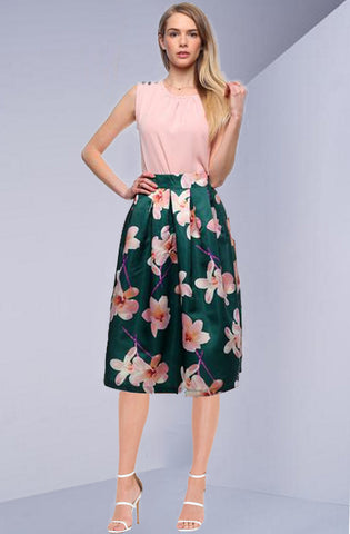 Flaming Garden  Green Skirt