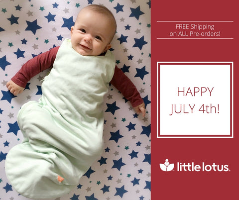 Happy 4th of July - Baby in Little Lotus Mint Swaddle
