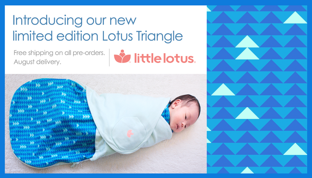 Baby in Little Lotus Triangle Swaddle