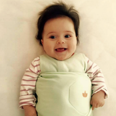 Angela baby in Little Lotus Swaddle