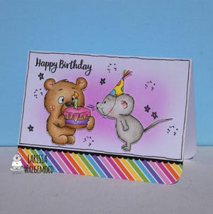 Happy birthday card with the bear and the mouse - Larissa