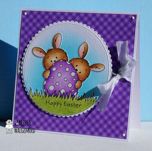 Happy Easter Card with the Two bunnies and an egg freebie - Larissa