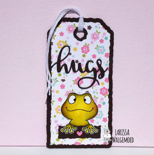 Frogs (Clear stamps) - Hugs tag - Larissa