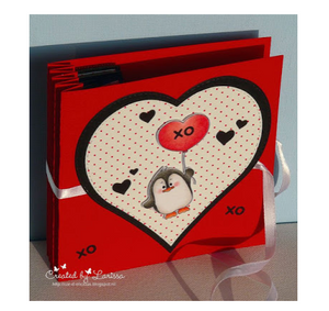 Valentine penguins on a harmonica card with tutorial! - Larissa