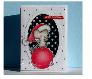 Stamp of the month for november - Balancing holiday mouse