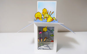 Lucky Duck Pop Up Box with Bottom Window - InsideoutJeans (Jeannie)