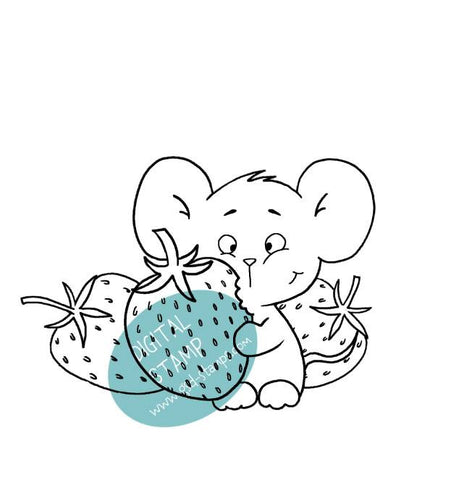 Strawberry Mouse - Digital Stamp