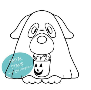 Dog Dressed as Ghost- Digital Stamp - Clearstamps - Clear Stamps - Cardmaking- Ideas- papercrafting- handmade - cards-  Papercrafts - Gerda Steiner Designs