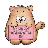 Cat Holding Sign Gerda Steiner Designs gsd-stamps.com