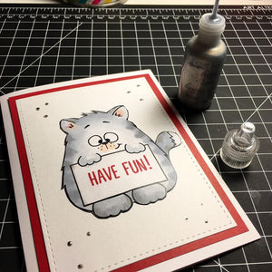 Cat Holding Sign - Digital Stamp - Clearstamps - Clear Stamps - Cardmaking- Ideas- papercrafting- handmade - cards-  Papercrafts - Gerda Steiner Designs