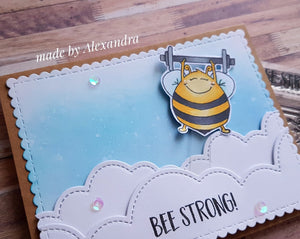 Bee Strong 2x3 Clear Stamp Set - Clearstamps - Clear Stamps - Cardmaking- Ideas- papercrafting- handmade - cards-  Papercrafts - Gerda Steiner Designs