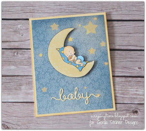 Baby on the Moon - Digital Stamp - Clearstamps - Clear Stamps - Cardmaking- Ideas- papercrafting- handmade - cards-  Papercrafts - Gerda Steiner Designs