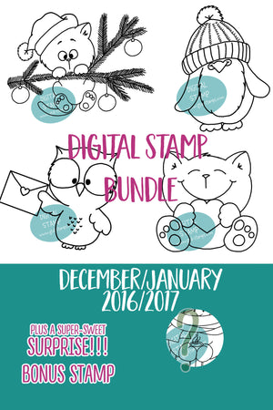 December/January Digital Stamp Bundle - Clearstamps - Clear Stamps - Cardmaking- Ideas- papercrafting- handmade - cards-  Papercrafts - Gerda Steiner Designs